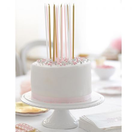 Pink, White & Gold Party Cake Candles - pack of 16 extra long candles
